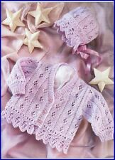 BABY KNITTING  Pattern  girls lacy edged cardign and hat  dk 16 / 26 in chest