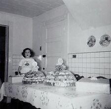 Antique Photograph Little Girl Sitting At Table With Trays of Cakes / Cookies