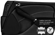 GREY STITCH 2X FRONT DOOR CARD TRIM LEATHER COVERS FOR ROVER 75 & MG ZT 99-05