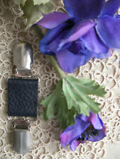 Cardigan Guard Leather Clip~Dress/Scarf Brace~BLACK Pearl~70 Colour+Magnolia~BN