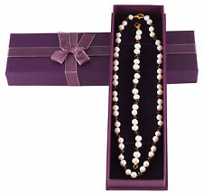 Gold Plated Faux White Pearls & Garnets Necklace & Bracelet Set. Brand New Boxed