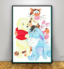 Winnie the Pooh and Friends Watercolour Print Nursery Artwork Tigger Piglet