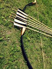 Traditional Black leather Longbow Archery Recurve Bow 20-60lb + 6 wooden arrows