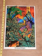 VINTAGE 1972 ST. GEORGE & DRAGON BLACKLIGHT POSTER    HEAD SHOP