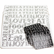 Set of 4 Placemats & Coasters Black & White Soho Words Dining Table Drinks Mats