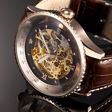 Brown Leather Mechanical Movement Analog Strap Men's Watch Skeleton Automatic