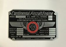 Continental Motors 65 HP Engine Data Plate, Nice!! Piper Cub, Aeronca, Luscombe