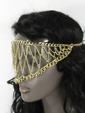 New women gold metal chains sexy eye cover fashion face mask head elastic band