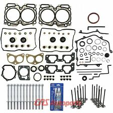 For Subaru 2.5L SOHC Full Gasket Set+ Bolts+ Intake Exhaust Valves+Silicone EJ25