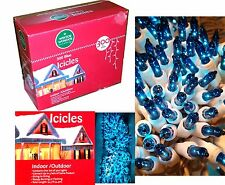 300 Blue Icicle String Lights-Icicles-White Wire-Holiday-Christmas Wedding Mini