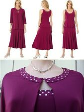 Woman Burgundy Cocktail Formal Evening Dress top skirt embellish Plus 24W 3X 4X