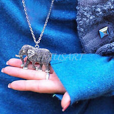 Vintage Crystal Rhinestone Elephant Pendant Alloy Chain Necklace Jewelry Gift