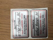 Lambretta  Arthur Francis Silver Dealer Sticker x 2 Correct Original Finish