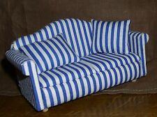 Sofa blau /weiss gestreift Miniatur 1:12 Puppenhaus