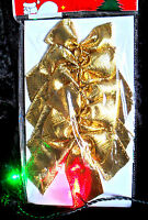5 X GOLD WIRED BOW Wedding Xmas Christmas Present Gift Wrap Decoration Wreath