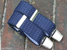 Mens Trouser Braces Navy Blue n Dots Elastic Adjustable 35mm Heavy Duty Clasps