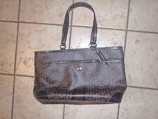 EUC Coach Chelsea Heritage Stripe Diaper Bag Tote ~ Brown & Black ~ F15134