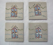 4 Hand Painted Sweet Home Ceramic Tiles Coasters Trivet Wall Hanging