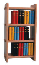 Dolls House Miniature 1/12th Scale Small Wooden Bookcase with Coloured Books