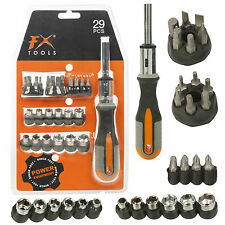 29pc Ratchet Screwdriver & Multi Bit Tool Set Ratcheting Handle Hex Socket DIY