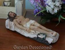 "8"" CRUCIFIED SAVIOUR JESUS CHRIST EASTER STATUE Lying Down Wounds PASSION WEEK"