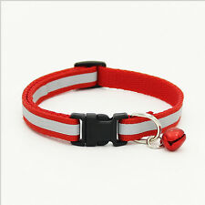 Pet Dog Puppy Cat Kitten Collar Soft Glossy Reflective Safety Buckle + Bell #mei