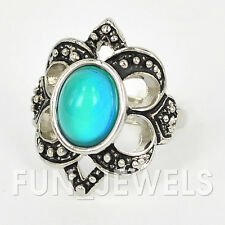 Beautiful Vintage Mood Ring Antique Silver Multi Colored Change Retro Free Chart
