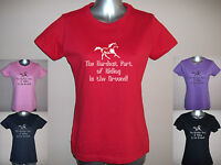 HARDEST PART OF RIDING IS THE GROUND! LADIES FUNNY HORSE T-SHIRT, S M L XL XXL