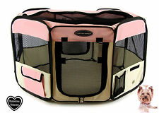 FABRIC FOLDING PET PLAY PEN – LARGE – Pink - L