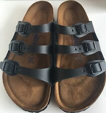 Birkenstock Florida 154471 size 38/US L7M5 R Black Leather Soft Footbed  Sandals
