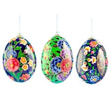"""3"""" Set of 3 Amaryllis Flowers Wooden Easter Egg Christmas Ornaments"""