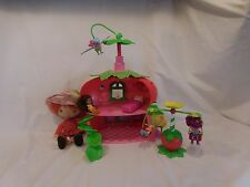 STRAWBERRY SHORTCAKE BERRY house Cafe + Swing set + Plush Doll + Twirling Bird +