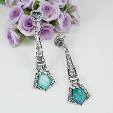 E15 Long Art Deco Gatsby 1920s Style Shimmer Green Crystal Stud Dangle Earrings