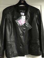 Chanel 10A Paris Shanghai NEW TAGS Black CAMELLIA Leather Jacket FR42-FR40 $14K