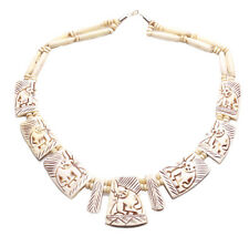 The Elephant Is Back in the Room Tribal Warrior Cream Carved Necklace (Zx120)