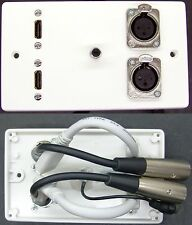 AV Media Wall Plate, 2 x HDMI / 2 x XLR / RCA Phono Audio Sockets to tail-leads