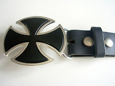 BLACK IRON CROSS BELT BUCKLE WITH GENUINE LEATHER SNAP ON BELT WAIST 28 - 52