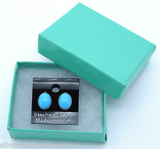 7x9mm Genuine Sleeping Beauty Turquoise 925 Sterling Silver Stud Post Earrings