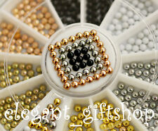 #ES6  2mm 6 Color Metallic Rivets Nail Art Decoration Half Round Studs Set 2