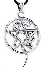 großer Pentagramm Anhänger Edelstahl mit Schlange weiße Magie Schutz Pentagram