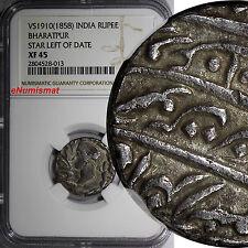 INDIA BHARATPUR Jaswant Singh VS1910(1858)Nazarana Rupee NGC XF45 TOP GRADE RARE