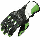 Motorcycle Motorbike Leather Gloves Kevlar Knuckle Protection KAWASAKI GREEN.M,L