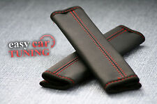 FOR MERCEDES SPRINTER BLACK REAL GENUINE LEATHER 2X SEAT BELT COVERS PADS RED ST