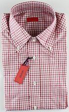 NWT ISAIA DRESS SHIRT check white burgundy luxury handmade Italy 42 16 1/2