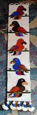 Vintage Wool TAPESTRY Bird Wall Hanging WOVEN Handmade Jose C Cotacachi Colorful