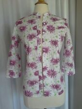 SIZE XS - New $48.00 IZOD Purple & White Green Floral Flowered Button Down Shirt