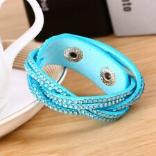 LOVELY LEATHER Slake BRACELET MADE WITH SWAROVSKI CRYSTALS- TURQUOISE BLUE WOVEN