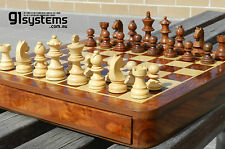 "Wooden Magnetic Drawer Chess Set 12""x12"" Sheesham/White Wood"
