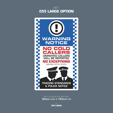 SKU055L - No Canvassers - No Cold Callers - Front Door Letter Box Sign / Sticker