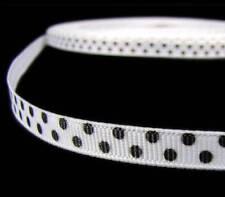 """5 Yds White Black Confetti Swiss Polka Dot Grosgrain Ribbon 3/8""""W"""